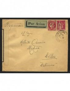 Carta aérea de Francia a Avilés con censura militar de Oviedo Francia - 1931 a 1950.