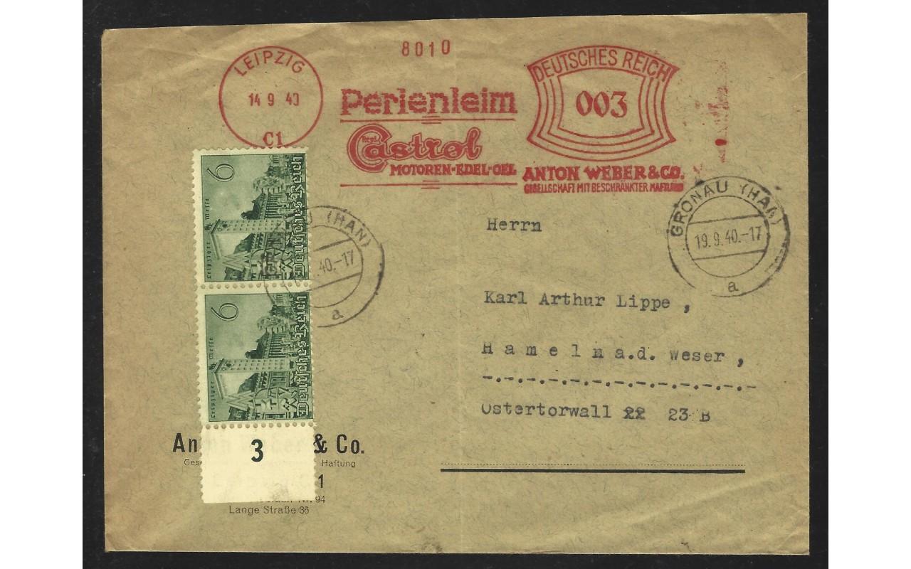 Lote temático. Alemania. Carta con franqueo mecánico tema mecánica Matasellos y franqueos mecánicos.