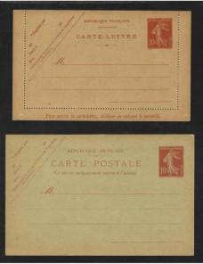 Dos tarjetas entero postales Francia nuevas Francia - 1900 a 1930.