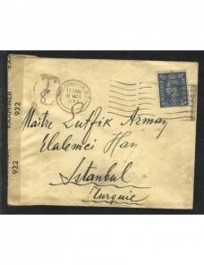 Carta Gran Bretaña con marca de tasa y censura II Guerra Mundial Bando Aliado - II Guerra Mundial.