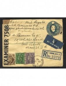 Sobre entero postal Gran Bretaña aéreo con censura II Guerra Mundial Bando Aliado - II Guerra Mundial.