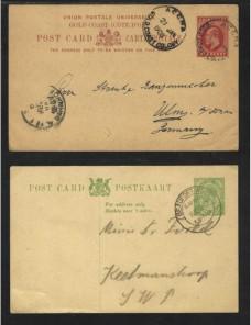 Tres piezas postales colonias inglesas en Africa Colonias y posesiones - 1900 a 1930.