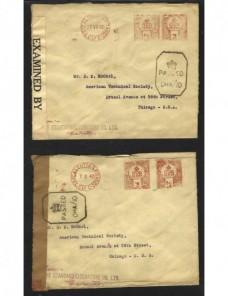 Dos cartas India Británica censura militar II Guerra Mundial Bando Aliado - II Guerra Mundial.