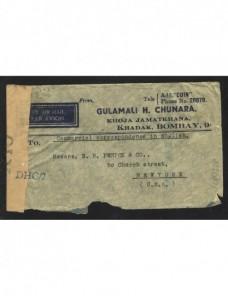 Carta India Británica censura militar II Guerra Mundial Bando Aliado - II Guerra Mundial.