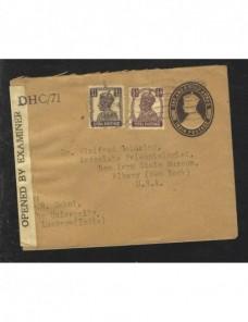 Sobre entero postal India Británica censura militar II Guerra Mundial Bando Aliado - II Guerra Mundial.