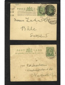 Tres tarjetas entero postales Gran Bretaña Gran Bretaña - 1900 a 1930.