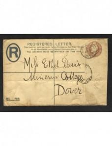 Sobre entero postal certificado Gran Bretaña Gran Bretaña - 1900 a 1930.