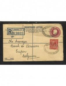 Sobre entero postal certificado Gran Bretaña Gran Bretaña - 1931 a 1950.