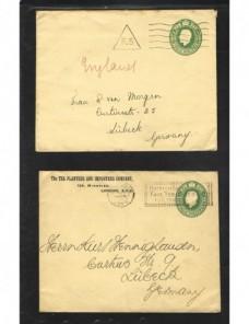 Dos sobres entero postal Gran Bretaña matasellos especiales Gran Bretaña - 1900 a 1930.