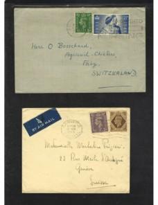 Tres cartas Gran Bretaña matasellos rodillo Gran Bretaña - 1931 a 1950.