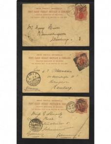 Tres tarjetas entero postales Gran Bretaña Gran Bretaña - Siglo XIX.