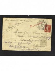 Carta redireccionada Francia I Guerra mundial  Prisioneros de guerra - I Guerra Mundial.