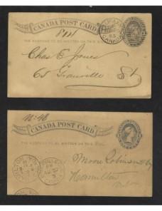 Dos tarjetas entero postales Canadá Otros Mundial - Siglo XIX.