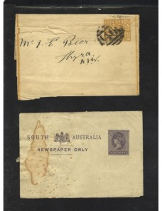 Dos fajas entero postales de impresos Australia  Colonias y posesiones - Siglo XIX.