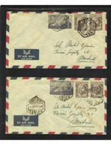 Dos cartas correo aéreo Tánger español Colonias y posesiones - Desde 1950.