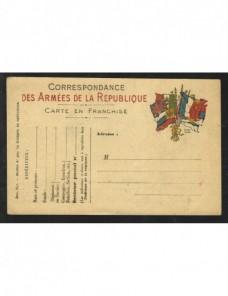 Tarjeta militar de campaña Francia Bando Aliado - I Guerra Mundial.