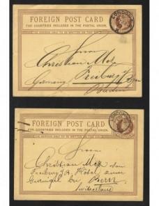 Dos tarjetas entero postales Gran Bretaña Gran Bretaña - Siglo XIX.