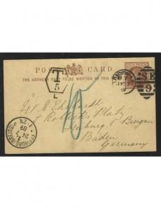 Tarjeta entero postal Gran Bretaña marca de tasa Gran Bretaña - Siglo XIX.