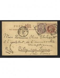 Tarjeta entero postal Gran Bretaña marca de ambulante ferroviario Gran Bretaña - Siglo XIX.