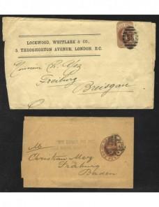 Dos fajas de impresos entero postales Gran Bretaña Gran Bretaña - Siglo XIX.