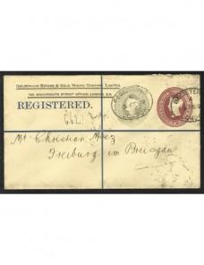 Sobre entero postal certificado Gran Bretaña iniciativa privada Gran Bretaña - Siglo XIX.