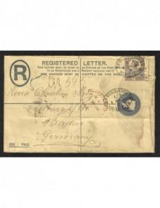 Sobre entero postal certificado Gran Bretaña  Gran Bretaña - Siglo XIX.