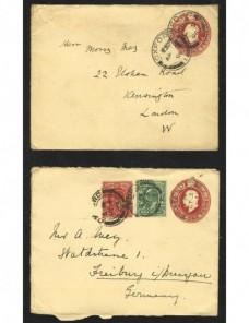 Dos sobres entero postales Gran Bretaña Gran Bretaña - 1900 a 1930.