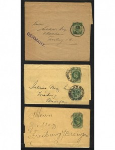 Tres fajas de impresos entero postales Gran Bretaña Gran Bretaña - 1900 a 1930.