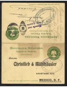 Tarjeta entero postal México con respuesta pagada Otros Europa - 1900 a 1930.