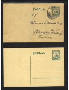 Dos tarjetas entero postales Africa Oeste Alemana Alemania - 1900 a 1930.
