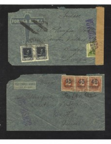 Dos cartas España II República censura militar correo aéreo Zona Republicana - Guerra Civil Española.
