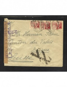Carta II República censura militar correo aéreo Zona Republicana - Guerra Civil Española.