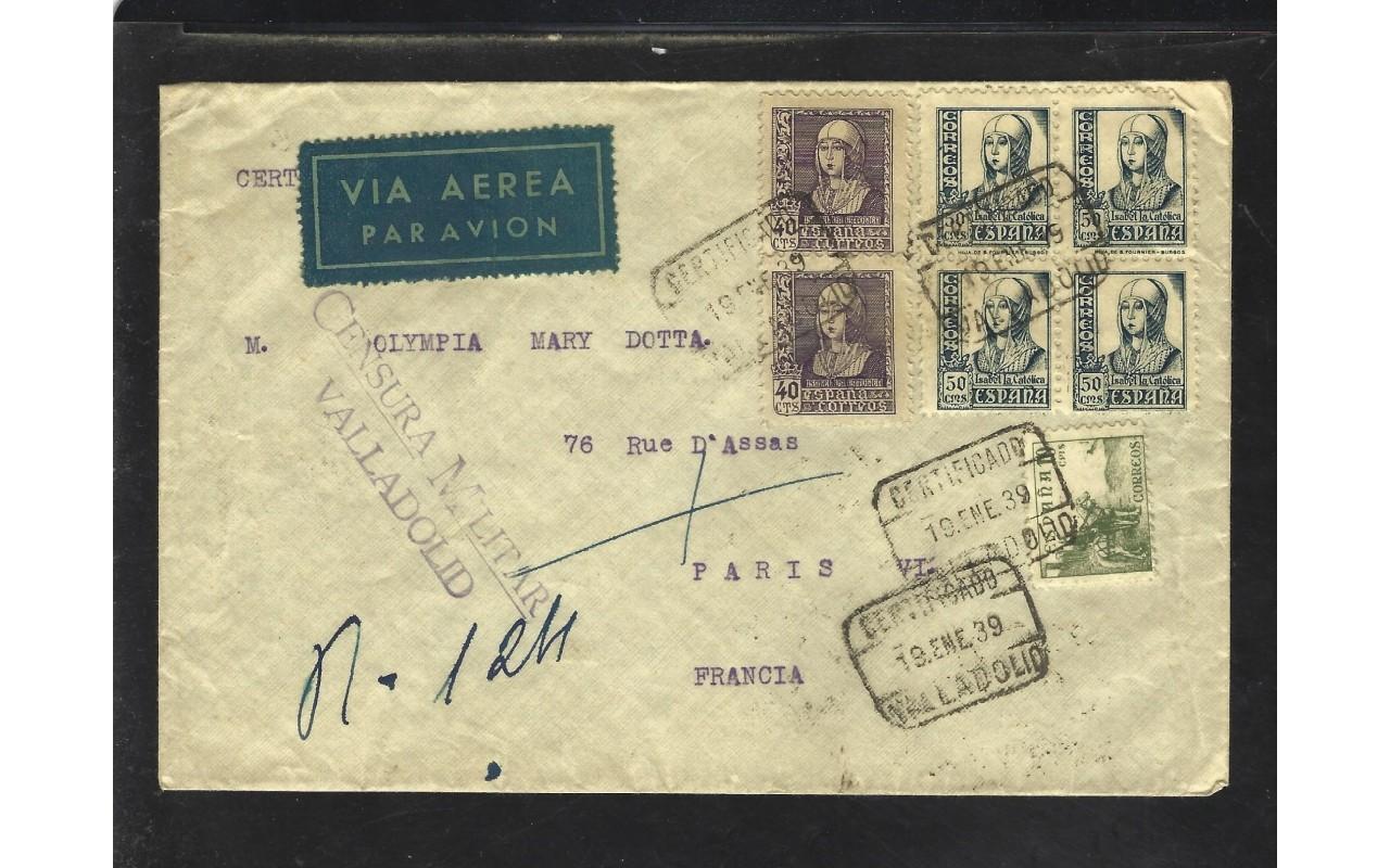 Carta correo aéreo certificado censura militar Valladolid Zona Nacional - Guerra Civil Española.