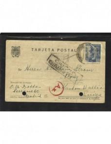 Tarjeta postal España censura doble con censura nazi de París España - 1931 a 1950.