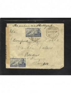 Carta Melilla correo aéreo doble censura España - 1931 a 1950.