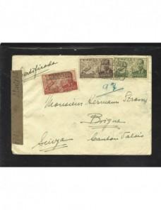 Carta correo aéreo certificada con censura Madrid España - 1931 a 1950.