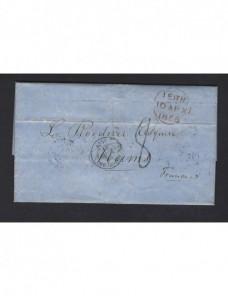 Carta prefilatélica Gran Bretaña a Francia Gran Bretaña - Siglo XIX.