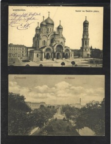 Dos tarjetas postales ilustradas Polonia Colonias y posesiones - 1900 a 1930.