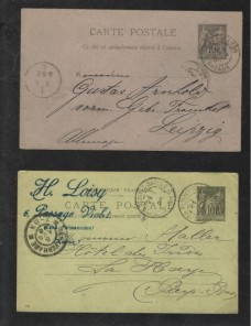 Dos tarjetas entero postales Francia Francia - Siglo XIX.
