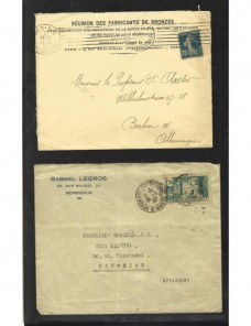 Tres cartas comerciales Francia matasellos de rodillo Francia - 1931 a 1950.