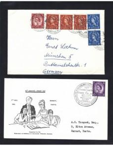 Dos cartas Gran Bretaña Gran Bretaña - Desde 1950.