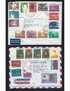 Cuatro cartas correo aéreo estados sudeste asiático Otros Mundial - Desde 1950.