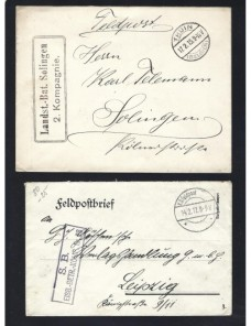 Cuatro cartas correo de campaña Alemania I Guerra Mundial Imperios Centrales - I Guerra Mundial.
