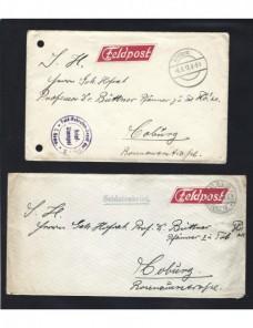 Dos cartas correo de campaña Alemania I Guerra Mundial Imperios Centrales - I Guerra Mundial.