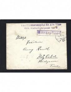 Carta correo de campaña Austria Hungría I G. M. hospital militar Imperios Centrales - I Guerra Mundial.
