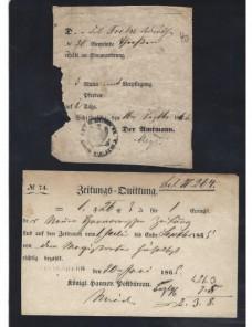 Cuatro documentos postales Alemania s. XIX Alemania - Siglo XIX.