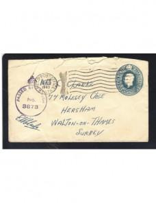 Sobre entero postal correo de campaña Gran Bretaña II G.M. censura Bando Aliado - II Guerra Mundial.