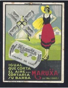 Tarjeta postal publicitaria España cuchillas afeitar España - Desde 1950.