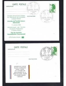 Tres tarjetas entero postales Francia matasellos especiales Francia - Desde 1950.