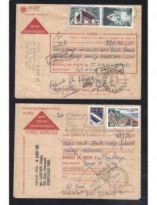 Cinco impresos Francia envíos contra reembolso marcas devolución Francia - Desde 1950.